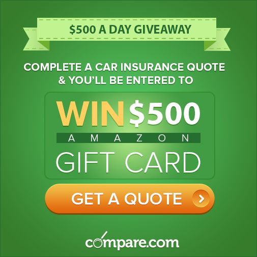Get a free car insurance quote with compare.com, and you'll be entered to win $500 in our daily giveaway. Get started now: http://www.compare.com/?utm_source=socialmedia&utm_medium=pinterest&utm_campaign=100giveaway