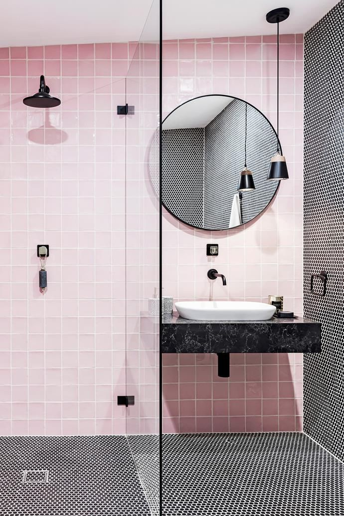 Black details add some edge to an otherwise feminine pink bathroom. Photo: Maree Homer | Styling: Kristen Rawson | Story: real living