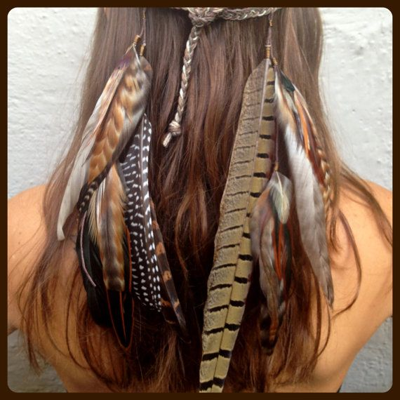 Headband/Hatband // Feathers, braided organic hemp, festival, hippie, native american inspired, tribal, bohemian, boho