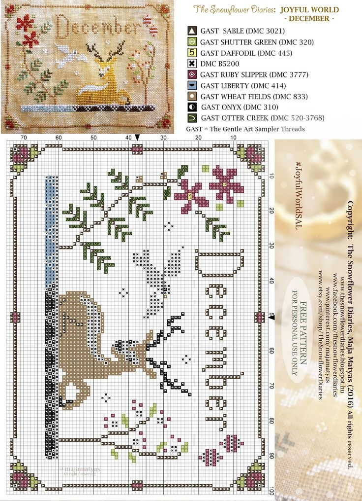 Dear Stitchers, We have arrived to the finish of my primitive cross stitch calendar, Joyful World. Tonight, before the clock hits mid...