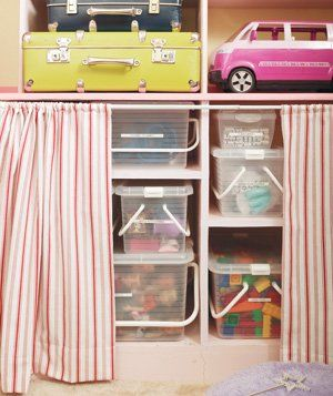 Opt for clear, easy-to-open containers for toy storage. That way kids can find the toys they want easily.: Curtains, Kid Rooms, Tension Rods, House, Storage Ideas, Kids Toys, Kids Storage, Kids Rooms, Toys Storage