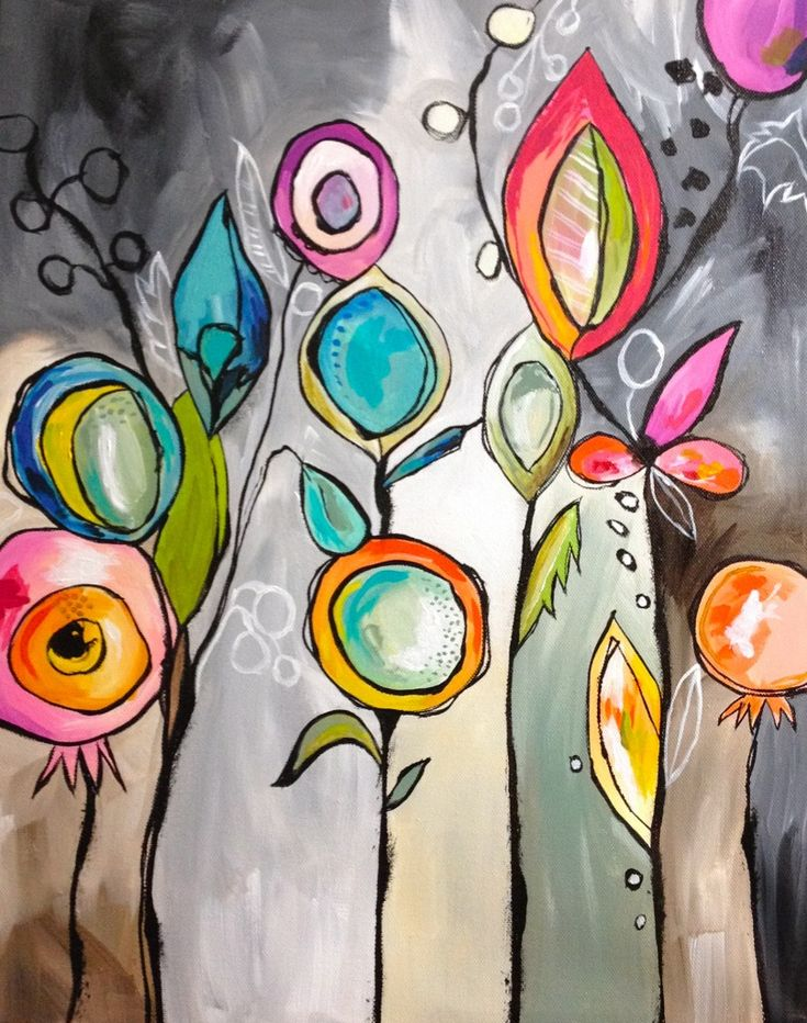 """colorful graphic / stylized flower buds and vines abstract acrylic painting on """"ombre"""" neutral background...by Teresa McFayden"""