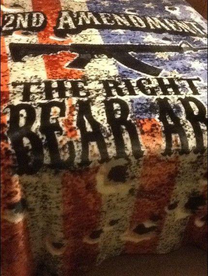 AMERICAN FLAG GUN 2ND AMENDMENT THE RIGHT TO BEAR ARMS QUEEN SIZE BLANKET #TheHuntsman #BadA