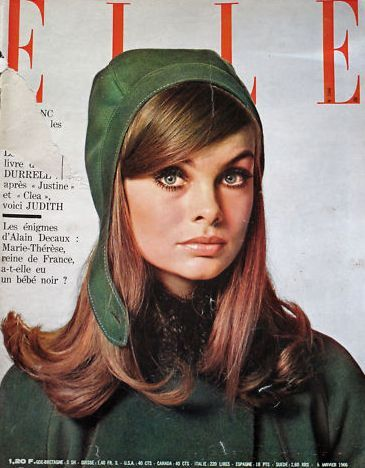 #Jean Shrimpton wearing Andr� Courr�ges on the cover of French ELLE, January,