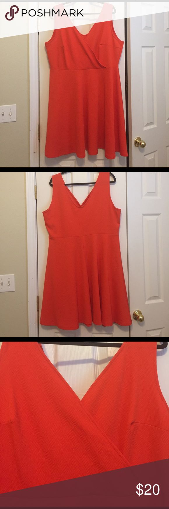 Soprano Dress--Size 3x Orange color Soprano Dress with faux wrap bust. Purchased from Macy's. Very flattering and light weight dress for spring! Unlined. Minor pen mark on front. No snags, picks or holes. Worn 2 times. Looks great with a cardigan, sparkly necklace and sandals! Soprano Dresses