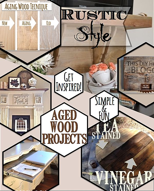 Rustic Style with aged wood. Make inexpensive pine wood look like old barn wood. http://countrydesignstyle.com #agedbarnwood #rusticstyle #diy