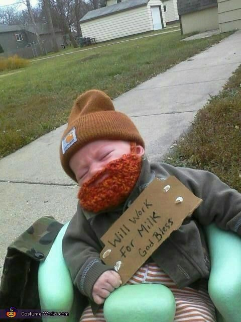 Milk Drunk Baby Halloween Costume - adorable! Poor baby!!! Child abuse--get that itchy fake beard off him! :-)