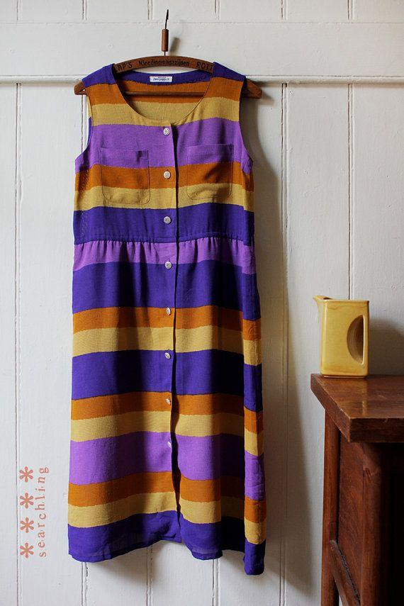 Vintage 1970's purple, orange, yellow striped beach dress - Small to medium.