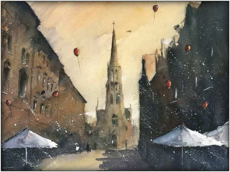 A morning in mariacka street,  Watercolour from Katowice