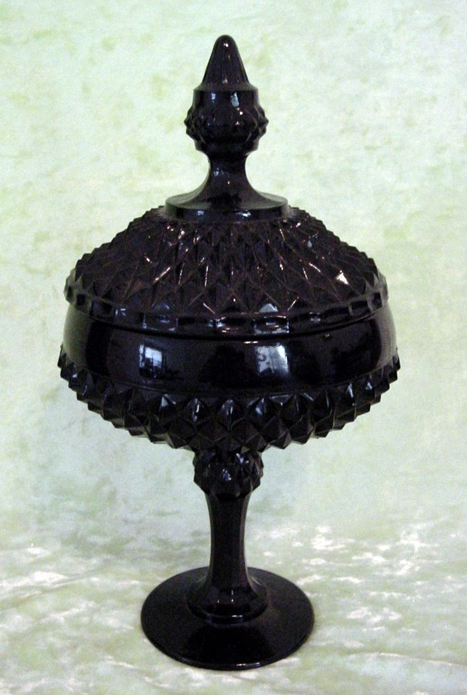 Black AMETHYST Diamond Point Tiara Indiana GLASS CANDY / COMPOTE DISH w/ LID