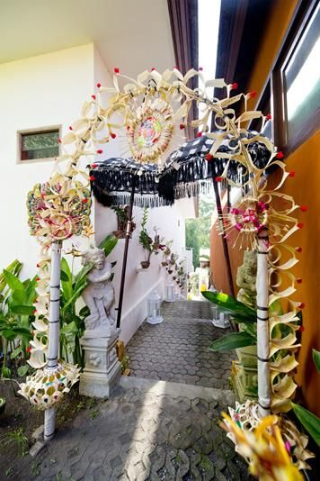 Traditional balinese decor outside, bali, Indonesia