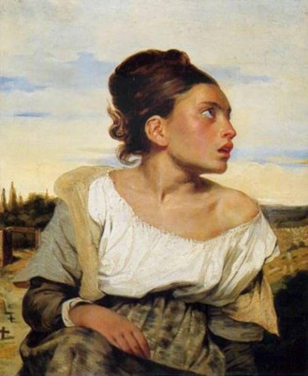 Jeune orpheline au cimetière, par Eugène Delacroix