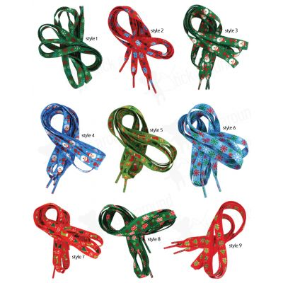 Christmas shoelaces - many cool designs and colours to brighten your kids shoes http://www.stickaround.com.au/party-supplies/party-bag-fillers/halloween-shoelaces.html