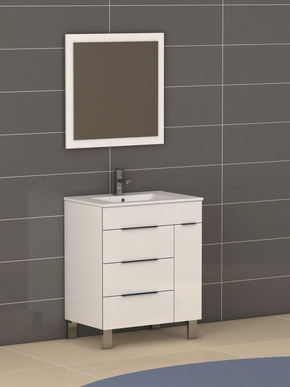 The modern design the Eviva Geminis® 28 inch bathroom vanity is a very modern categorized bathroom vanity. It is a high quality made in Spain vanity and can be a perfect fit for a modern bathroom. The vanity features an integrated white ceramic sink that requires no maintenance. Constructed from Eco-friendly engineered wood with very high quality white finish, the Geminis® is very durable with hardwood characteristics like that of maple wood.