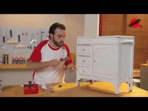 mueble blanco decapado - YouTube