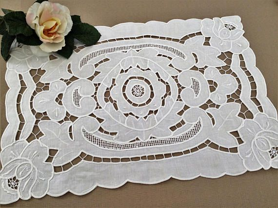 Linen Doily or Placemat. Vintage Madeira Cutwork Embroidered