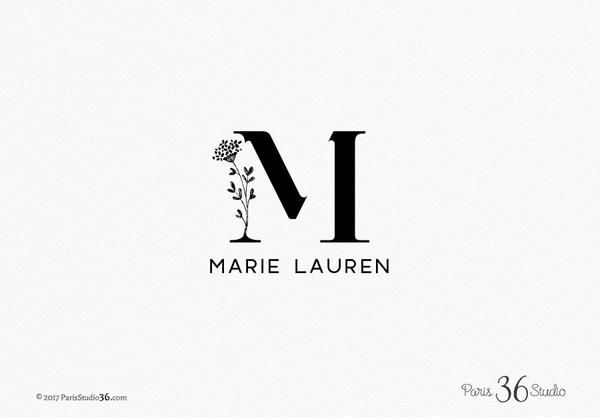 Minimalist Floral Monogram Logo Design #LogoDesign #etsyshop #cover #boutique #Branding #restaurant #photography #ecommerce