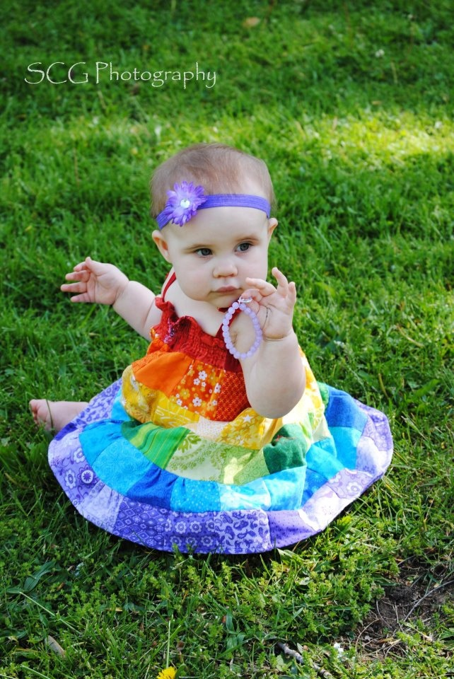 Bright  & Colorful Rainbow Patchwork Girl's Dress with Spaghetti Straps. $52.50, via Etsy.