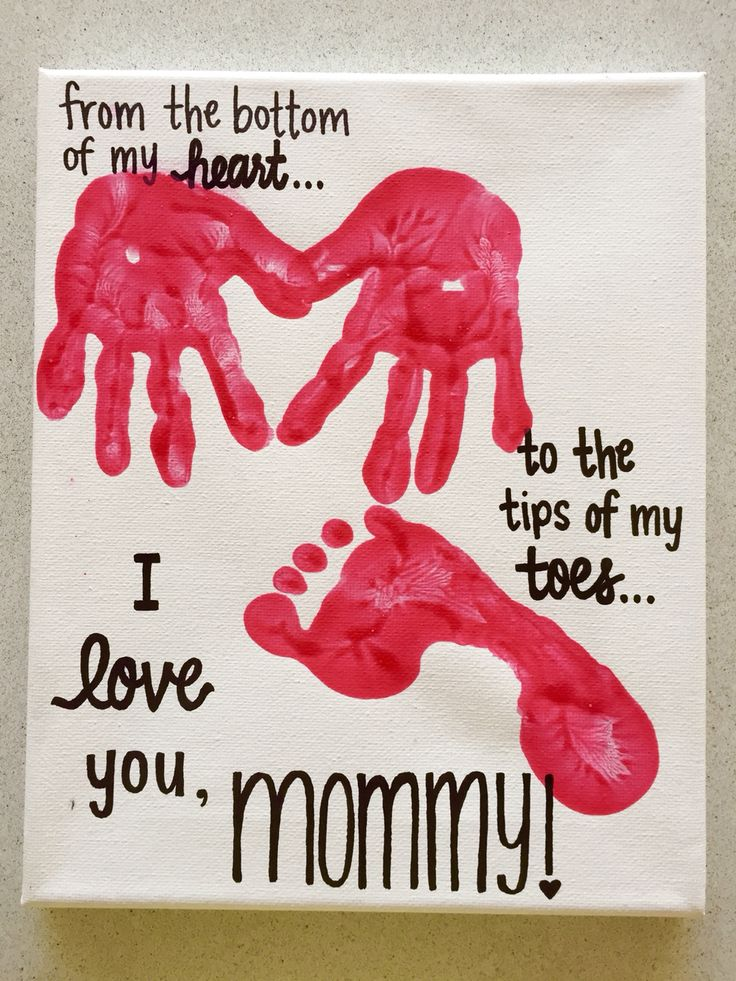 Cute Mother's Day gift from kiddos with small hands and feet! I used a permanent marker for the black text, and red washable paint; surprisingly the washable paint worked out well on the canvas and dried normally/stayed the same color!