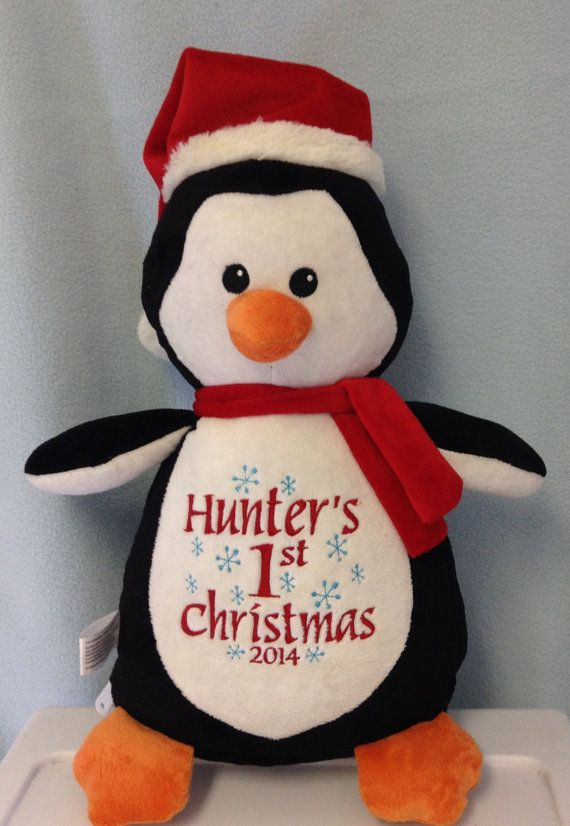 430 best personalized baby gifts images on pinterest personalized baby gift monogrammed by worldclassembroidery on etsy babys first christmas penguin negle Image collections