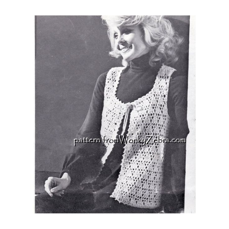 WZ924 crochet waistcoat or vest pattern- the classic 70s hippy look- but a very pretty layer anytime! This black and white image shows the stitch well -and a shorter length version(see next pin for long version in colour). A triangle lace stitch pattern and tie neckline  really make this stand out. Emailed PDF from the Original Patons2319 pattern