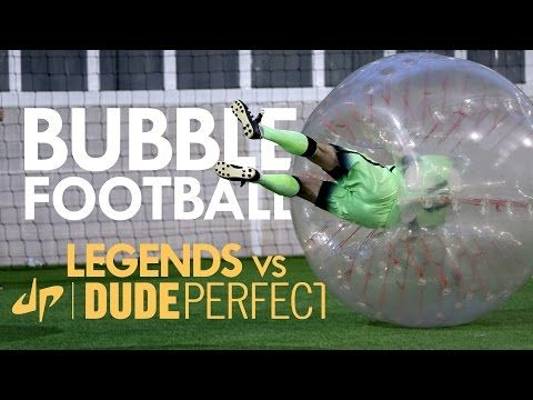 Man City Legends take on Dude Perfect in Bubble Football (Video)