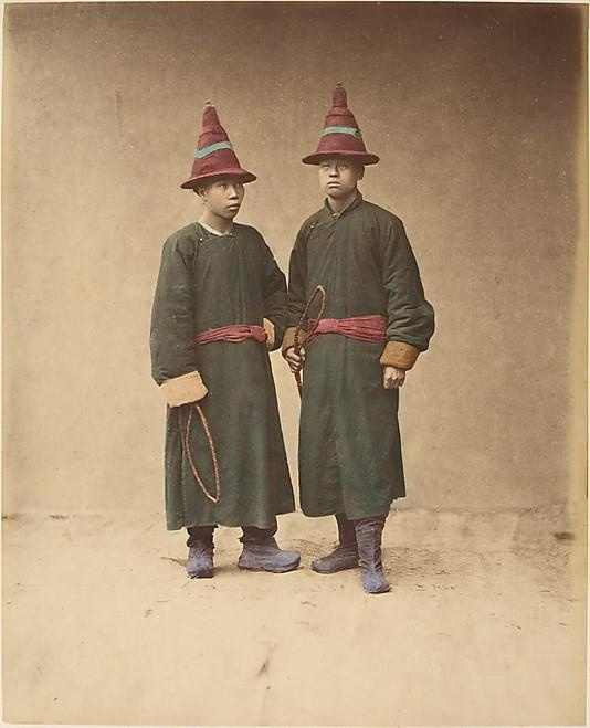 Baron Raimund von Stillfried [Two Chinese Men in Matching Traditional Dress] 1870s