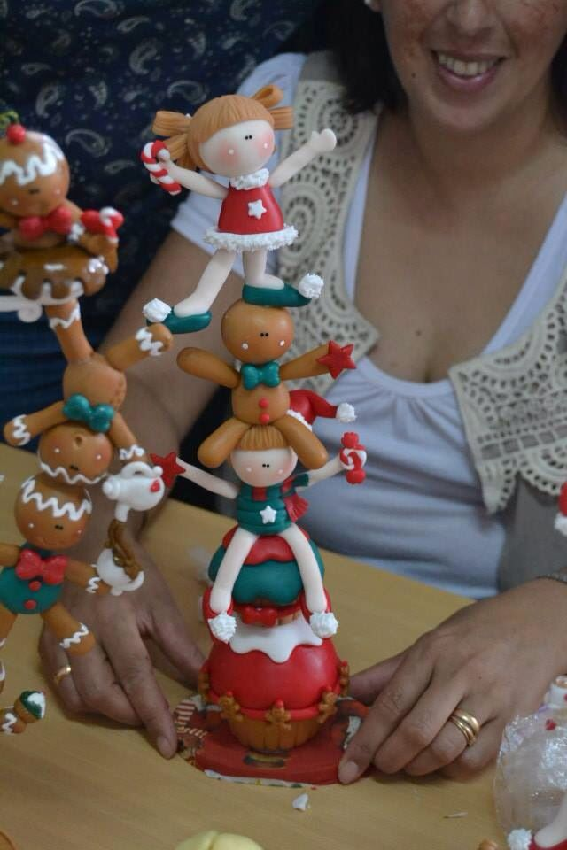 Porcelana fria polymer clay pasta francesa masa flexible fimo fondant gum paste topper modelado modelling figurine christmas navidad xmas pascua natal