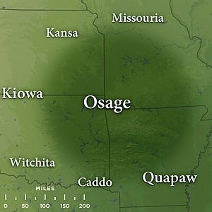 """Map featuring traditional Osage lands by the late 17th century in the states of northwest Arkansas, southeast Kansas, southwest Missouri, and northeast Oklahoma.  The missionary Isaac McCoy described the Osage as """"uncommonly fierce, courageous, warlike nation"""" and Washington Irving said they were the """"finest looking Indians I have ever seen in the West."""""""