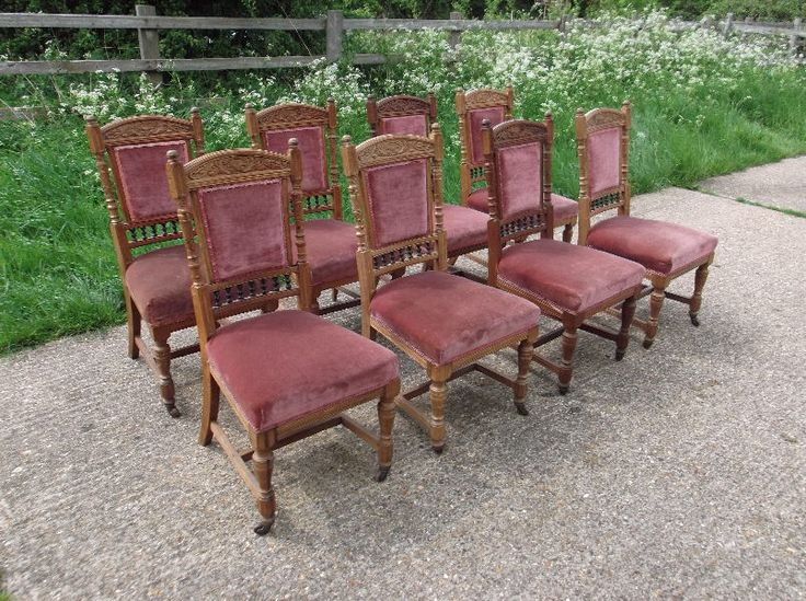 Very solid and decorative set of Arts and Crafts dining chairs with lovely  detailed carving and - 128 Best Dining Chairs Images On Pinterest Antique Furniture