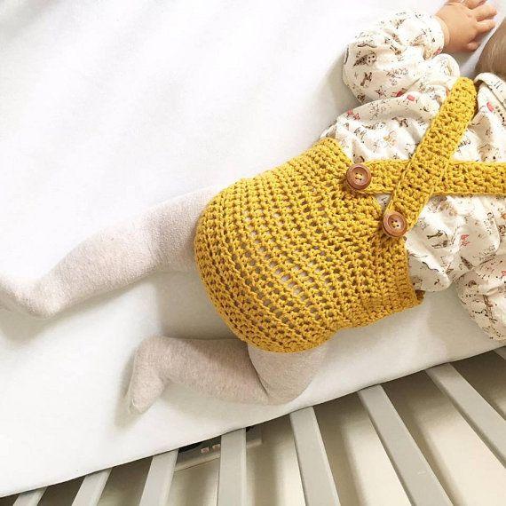 Crochet baby romper PDF pattern 0-6/6-12 by Threadthelovedesigns