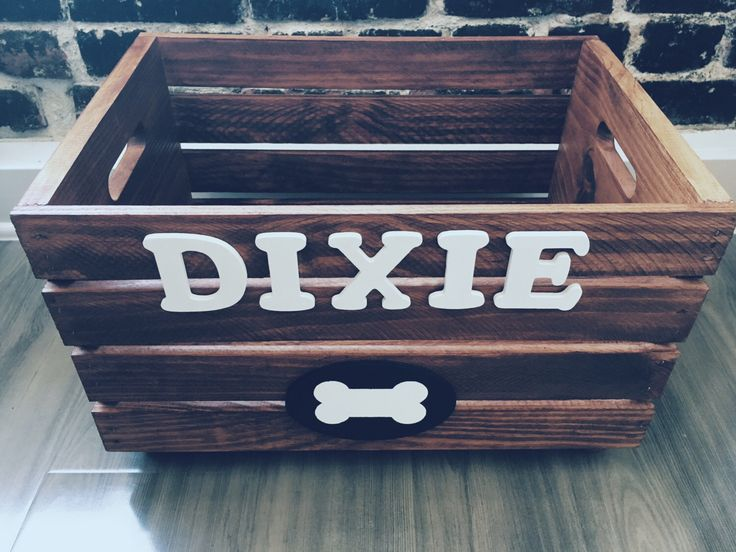 Doggy Toy Box - personalized Pet Storage - Dog Toy Crate - Toy Storage Box - Big Dog Toy Box - Wood Crate by DoggyCrates on Etsy https://www.etsy.com/listing/386805554/doggy-toy-box-personalized-pet-storage