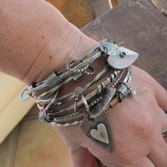 Silver Double Bangle Bracelet Charm Bangle Bracelet by artdi