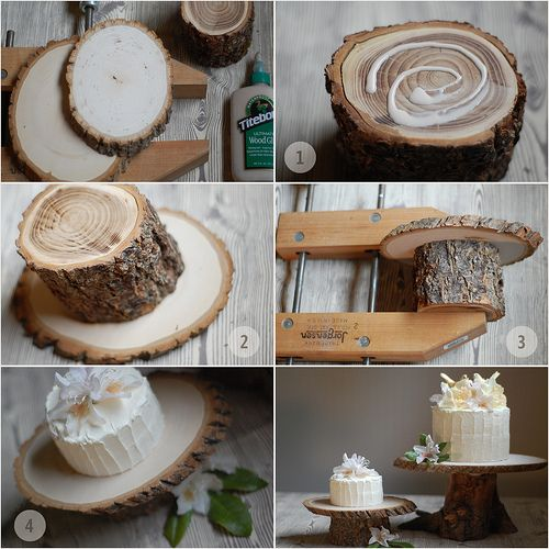 Tree Pedestal Cakestand! Quite charming... [original project designer, who seems to have posted in more detail in Once Wed:http://www.lalalaurie.com/2009/05/tree-pedestal-cakestand.html]