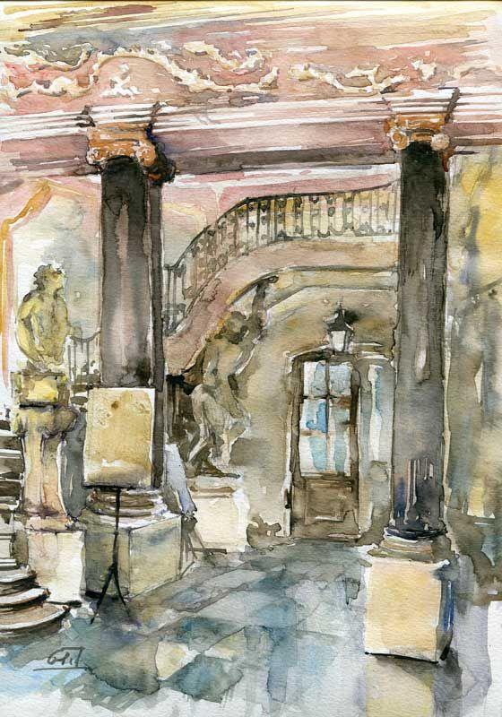 "www.artende.pl Jaroslaw Glod - Watercolor - ""Branicki Palace"" 21cm x 30 cm"