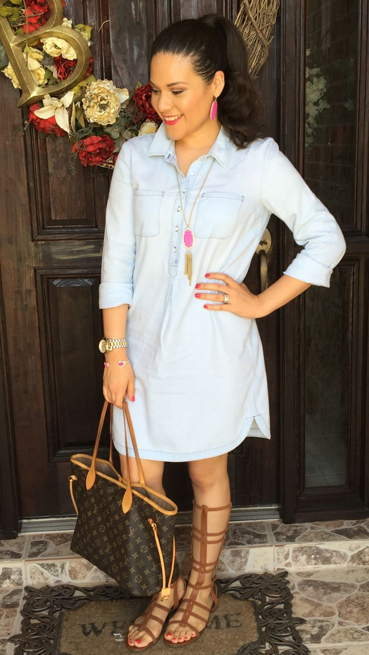Shirt dress | old navy | chambray | gladiator sandals | brown | summer outfit | mommy outfit | Kendra Scott | necklace | rayne | Danielle | earrings | magenta | Louis Vuitton | monogram canvas | neverfull mm | outfit | ideas | style