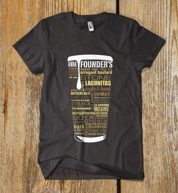 "CUSTOM printed ""Craft Beer Typography"" t shirt. One of a kind. $16.99, via Etsy."