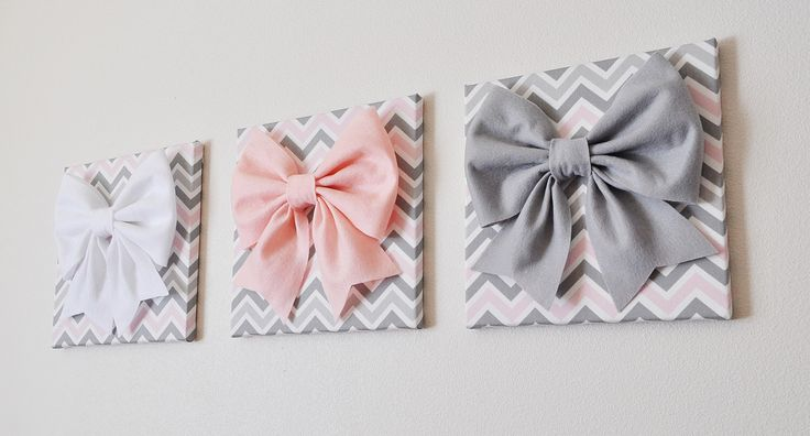 """SET OF THREE - Wall Decor - Large Gray Pink and White Bows on Pink and Gray Chevron 12 x12"""" Canvases Wall Art- Baby Nursery Wall Decor- by bedbuggs on Etsy https://www.etsy.com/listing/154746054/set-of-three-wall-decor-large-gray-pink"""