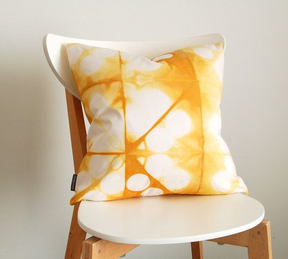 Tie Dye Shibori Yellow Pillow Cover 18x18 by SeaAndStoneStudio, $60.00