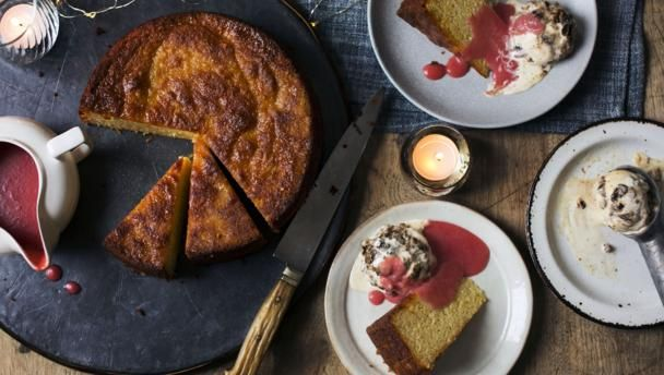 A wonderful dessert for Boxing day that's packed with festive flavours but a little lighter than most Christmas fare. Plus, the ice cream is a great way to use up any leftover Christmas pudding.   Equipment and preparation: you will need a 24cm/9½in loaf tin, an ice cream maker, food processor and a blender.