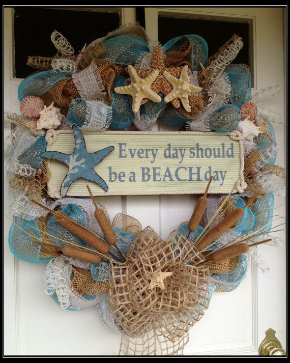 Seashell Deco Mesh and Burlap Wreath Everyday by JustHangingRound, $110.00 but, I think my friend Kim could make this since her whole house is Beach theme~