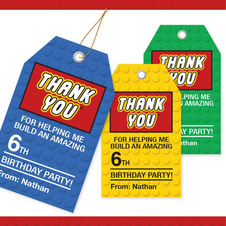 LEGO Inspired Building Block Thank You Tags - 3 Colors / Printable / Gift Tag / Personalized by alittlehopedesigns on Etsy