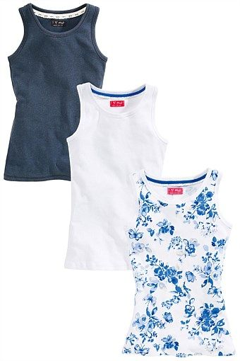 Girls Clothing Online - 3 to 16 years - Next Blue Print Vest Three Pack (3-16yrs)