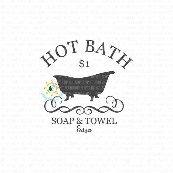 Hot Bath SVG vintage bath tub clip art bathroom sign svg ...
