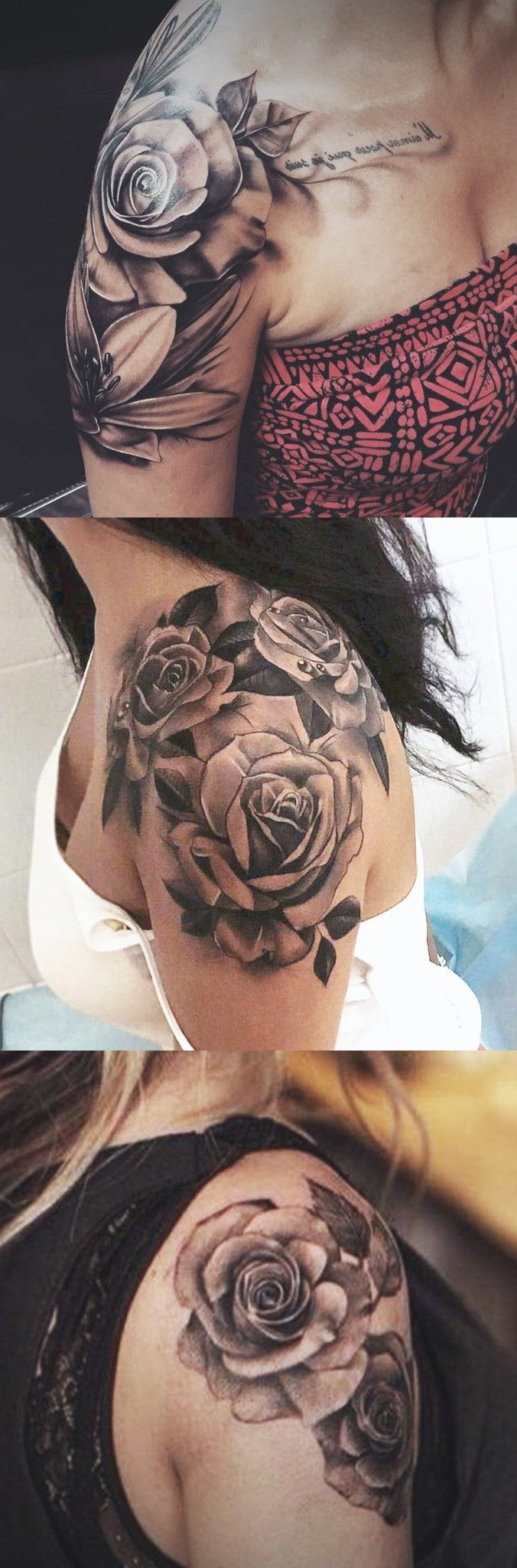 Women's pink shoulder tattoo ideas in black and white realistic left arm