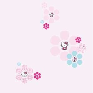Decofun Hello Kitty behang voor Verels kamer. Heeft ze zelf uitgekozen bij Karwei.