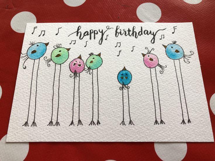 Cute little bird card – #bird #card #cute #tekenen