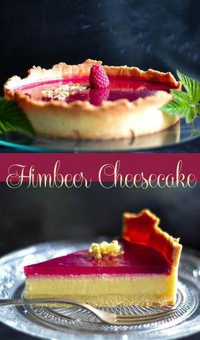 Rezept für cremigen Cheesecake mit fruchtigem Himbeerspiegel - Himbeer Cheesecake Tarte