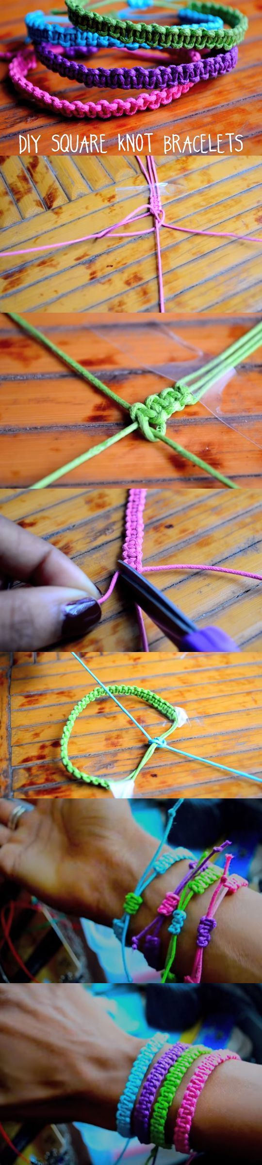 "These lovely bracelets Would Be the perfect gift to your BFF. Watch the video, and learn how to craft stackable bracelets using the ""square knots"" technique. See video and written instructions here: http://gwyl.io/easy-make-square-knot-bracelets/:"