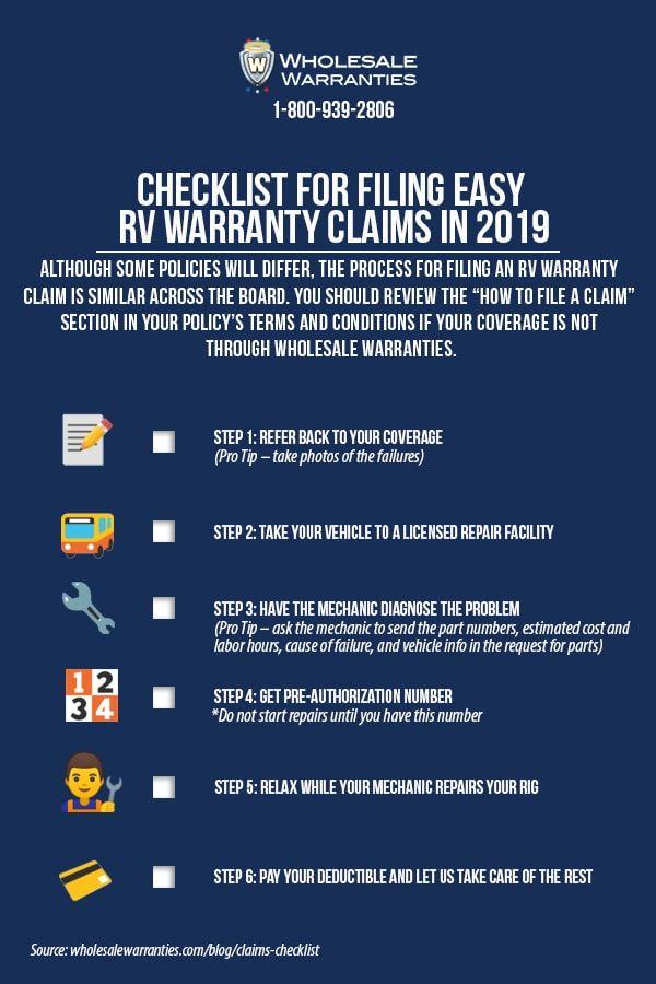 Checklist For Filing Easy Rv Warranty Claims In 2019 Wholesale Warranties Checklist Warranty Rv Types